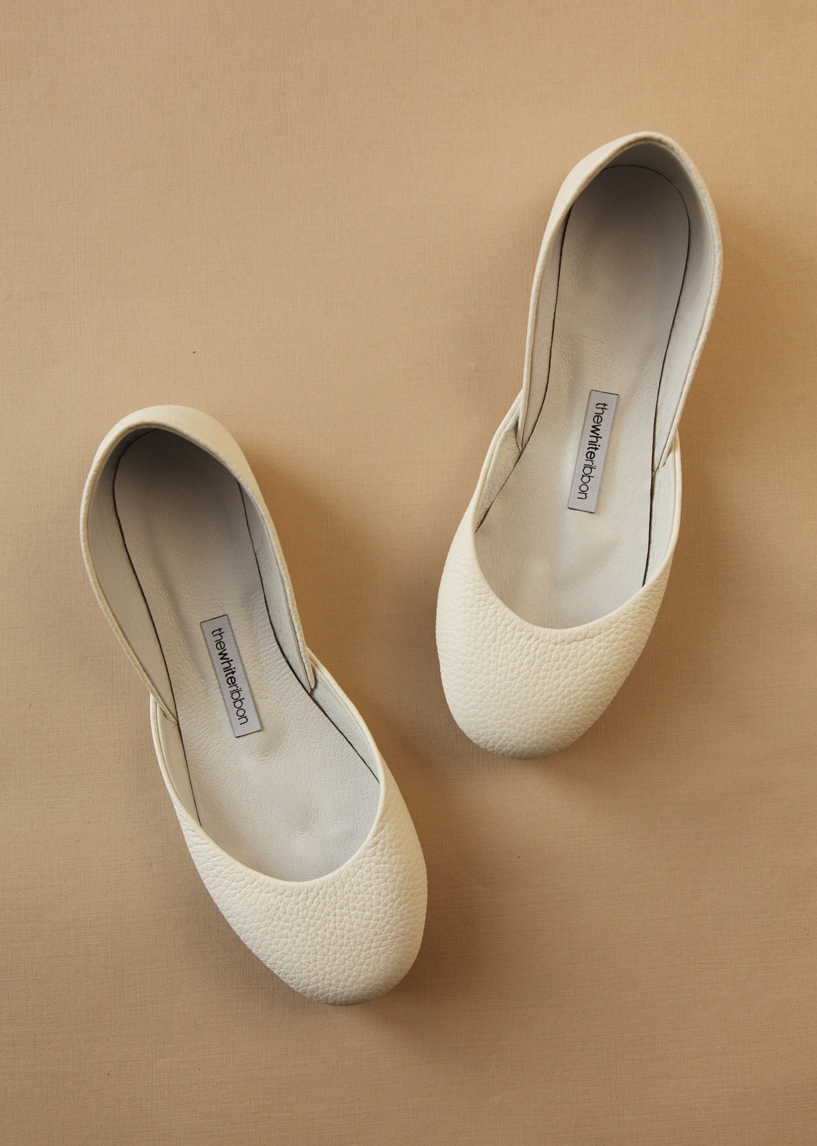 the classic ballet flats in ivory textured | pointe style shoes | standard width | ivory textured | classic cut | ready to ship