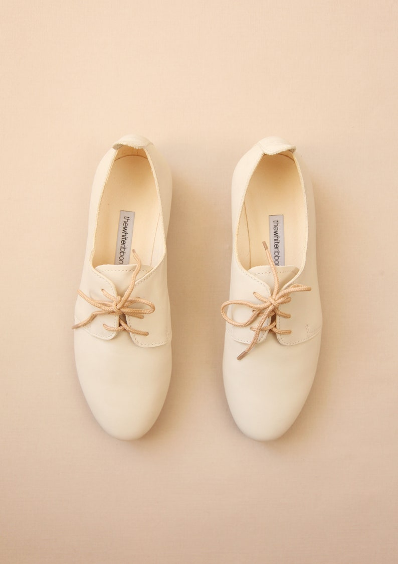 76c6ec85b28f8 The Wedding Saddle Shoes in Ivory | Bridal Oxford Shoes Leather Flats |  Vanilla Ivory | Ready to Ship