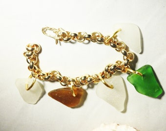 Gold Sea Glass Charm Bracelet, Bermuda Sea Glass, Gift For Girlfriend, Gift for Woman