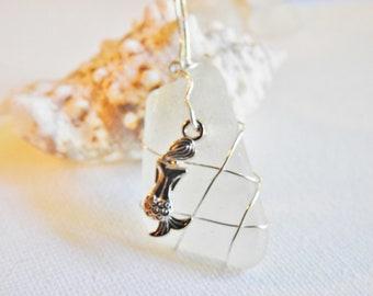 Mermaid Sea Glass Pendant Necklace, Genuine Bermuda Sea Glass Jewelry, Sterling Silver Wirewrap Beachglass, Gift for Beachlover