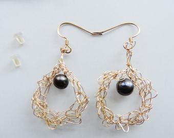 Gold Hoop Earrings, Wire Crochet Dangles, Black Pearl Gold Earrings, Lucky Sea Glass Jewelry, Girlfriend Gift