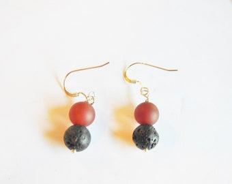 Lava Bead Carnelian Gemstone Earrings Sterling Silver, Carnelian Earrings Sterling, Girlfriend Gift, Healing Crystal Earrings