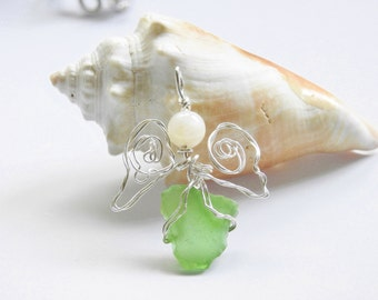 Sea Glass Angel Pendant, Genuine Seaglass Hawaii Jewelry, Guardian Angel Necklace, Gift For Her