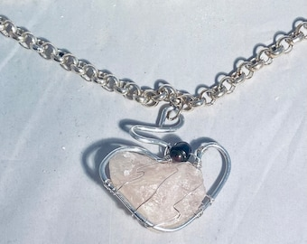 Pink Kunzite and Pearl Pendant Sterling Silver Wrap, Gift For Her, Romantic Crystal Stone Necklace, Heart Necklace