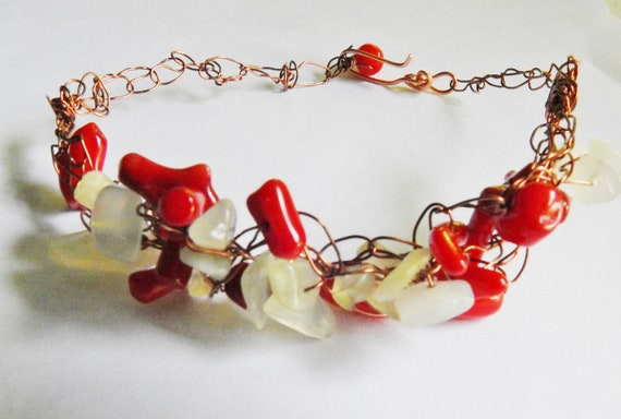 CR0015 Crochet wire necklace  dark coral red on bronze copper rustic wire crochet casual beaded jewelry  Czech Glass