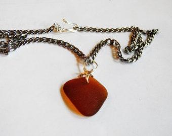 Simple Beachglass Pendant, Genuine Bermuda Seaglass, Gift For Man, Adjustable Necklace, Sea Glass Necklace