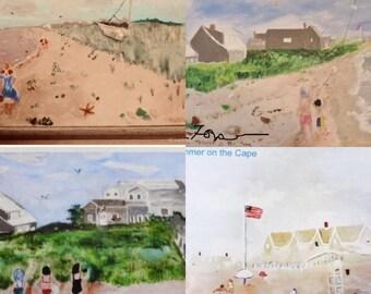 Beach Art Magnets, Cape Cod Paintings, Sea Glass Art, Hostess Gift, Four Frameable Beach Scenes, Fridge Magnets