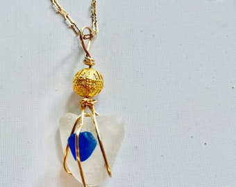 Sea Glass Heart Gold Necklace, Genuine Blue Beachglass, Gift For Woman, Wirewrapped Sea Glass Jewelry, Luckyseaglass