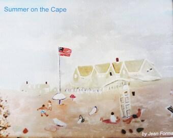 Cape Cod Scene Magnet, Original Art Work, Summer Beach Scene, Frameable Craigville Beach, Hostess Gift, Beach House Decor, Beach Souvenir