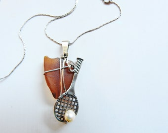 Tennis Charm Necklace, Genuine Sea Glass Jewelry, California Amber Seaglass & Sterling Silver Tennis Pendant