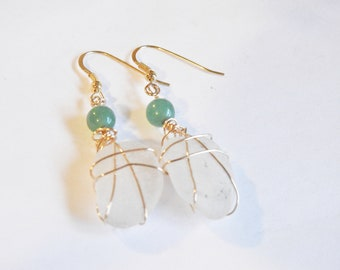 Sea Glass Gold Earrings, Genuine Seaglass Dangles, Puerto Rico Beachglass Jewelry, Lucky Sea Glass Jewelry, Girlfriend Gift