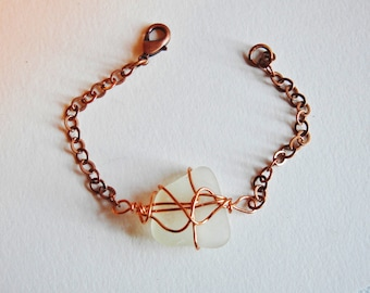 Genuine Ohio Sea Glass Copper Bracelet, Beachglass Bracelet, Gift for Woman, Girlfriend Gift