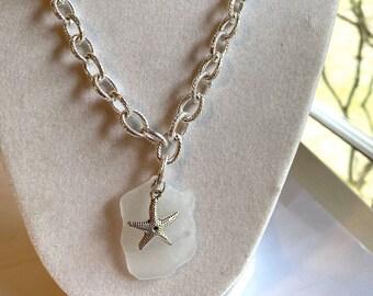 Sea Glass Starfish Pendant, Chunky Chain Sea Glass Silver Necklace, Alaskan Seaglass Jewelry, Luckyseaglassjewelry