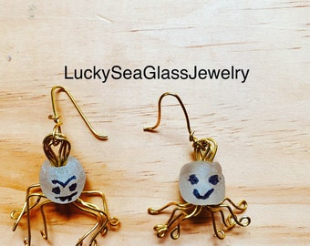 Funky Earrings, Spider Dangles, African Glass Bead Jewelry, Boho Spooky Earrings, Fun Gift For Girlfriend