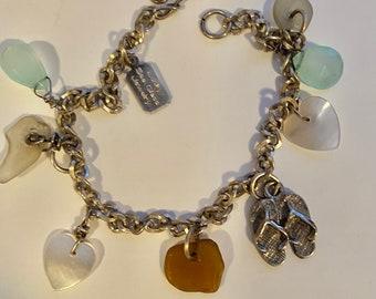 Silver Sea Glass Charm Bracelet, Hawaii Sea GlassJewelry, LuckySeaGlassJewelry, Honeymoon Memory Bracelet, Beach Charms, Girlfriend Gift