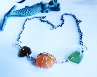 Carnelian Necklace, Calming Crystal Jewelry, Genuine California Sea Glass Statement Necklace, Girlfriend Gift
