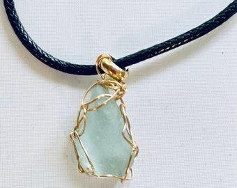 Blue Sea Glass Choker Necklace, Alaskan Beach Glass Pendant, Unisex Jewelry, Gold Wire Crochet