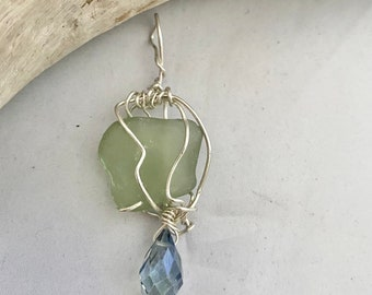 Alaska Sea Glass Sterling Wrapped Pendant, Blue Crystal, Genuine Beach Glass, Gift For Her, LuckySeaGlassJewelry, Rare Sea Glass Gem