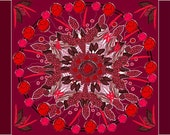 Feather Painting, Native American Wall Art, MANDALA POSTER, Abstract Red Wall Art, Large Red Abstract Painting, Ready to Hang Canvas