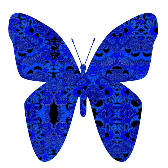 Butterfly Painting Bright Blue Wall Art Black And Blue Art Etsy