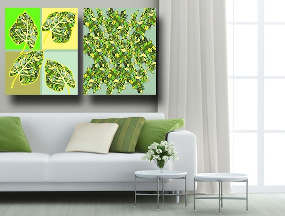 Leaf Painting Leaves Painting Matching Set Of Prints Tree Painting Canvas Ready To Hang 20 X30 16 X20 Large Abstract Poster Green