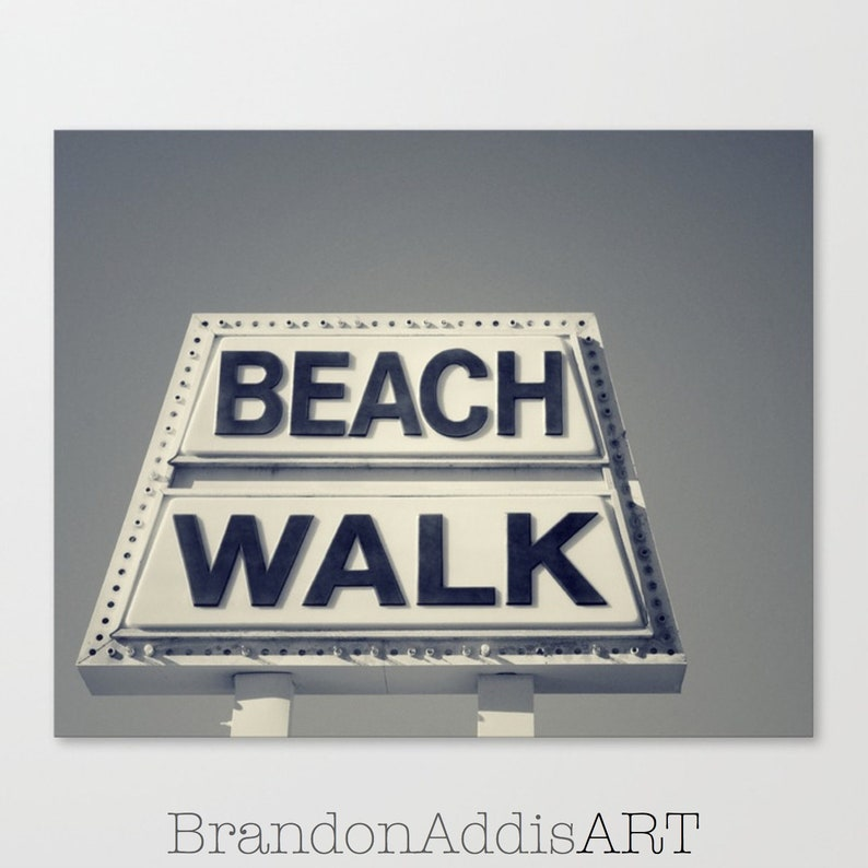 Beach Decor Beach Walk Old Sign Black and White Photography image 0
