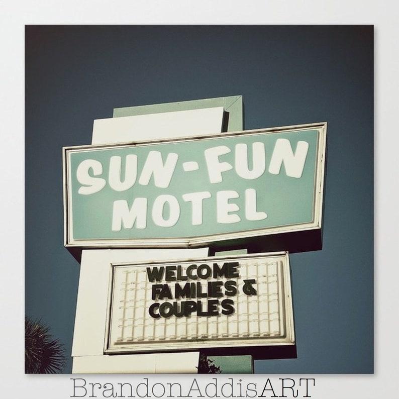 Mid Century Motel Sign Bedroom Wall Art Beach Decor Retro image 0