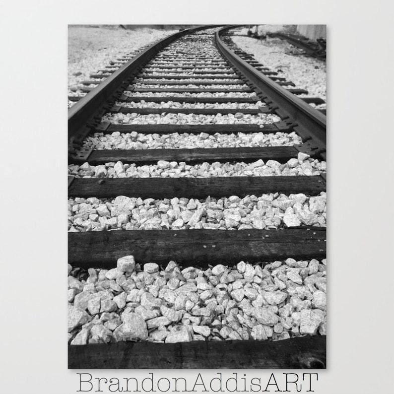 Train Tracks Photo Black and White Photo Train Themed Wall image 0