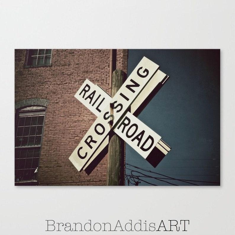 Train Art  Railroad Crossing Sign Train Photo Train Wall image 0