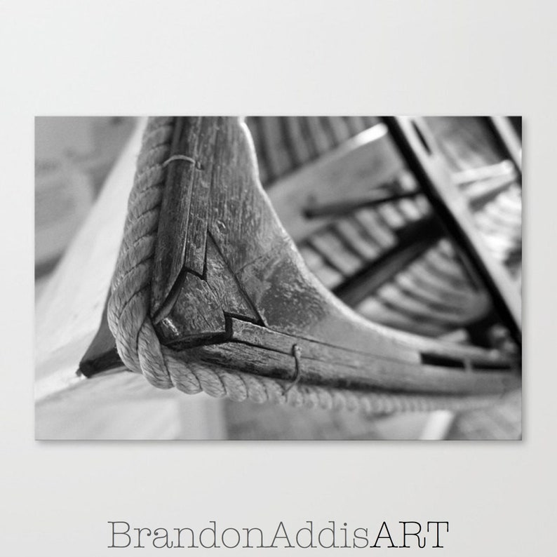 Nautical Decor Black and White Photo Row Boat Photograph image 0
