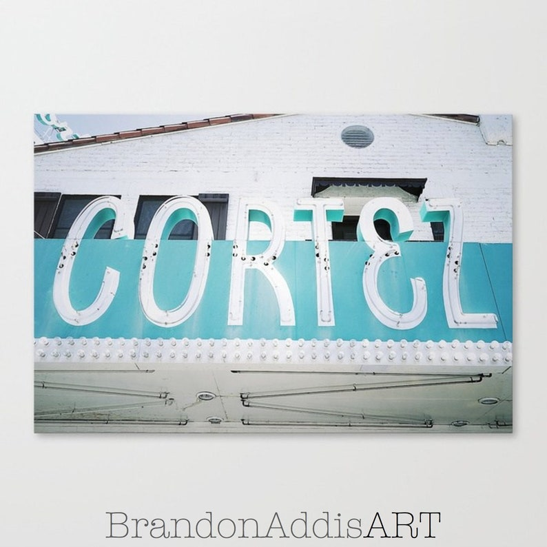 Hotel Cortez Sign Old Sign Photography Old Neon Sign Art image 0