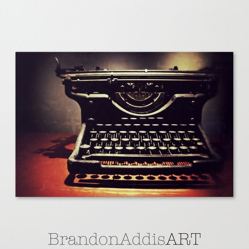 Antique Typewriter Photograph Industrial Wall Decor Office image 0