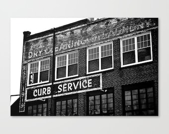 Laundry room decor, black and white art, industrial decor print of an old dry cleaner, large wall art