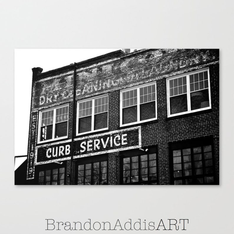 Black and White Industrial Wall Art Old Sign Photography image 0