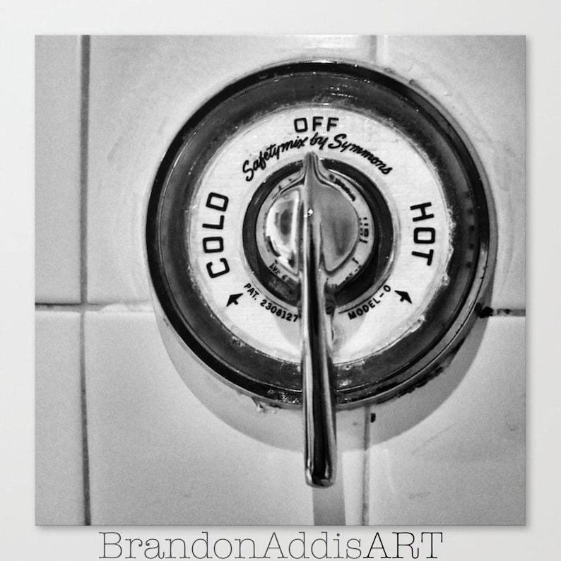 Bathroom Art Hot and Cold Faucets Bathroom Print Set Black image 0