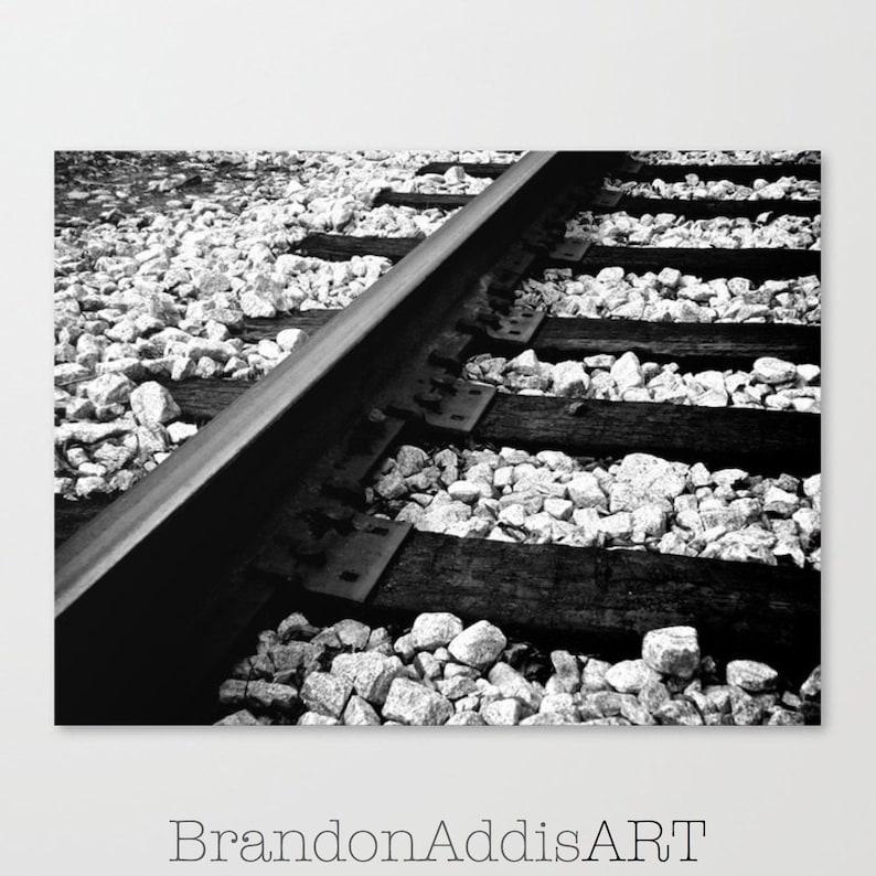 Railroad Tracks Photo Black and White Train Wall Decor image 0