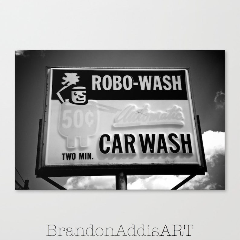 Car Wash Sign Industrial Art Decor Black and White Old Sign image 0