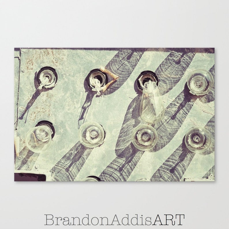 Industrial Art Print Neon Sign Photography Pictures of Old image 0