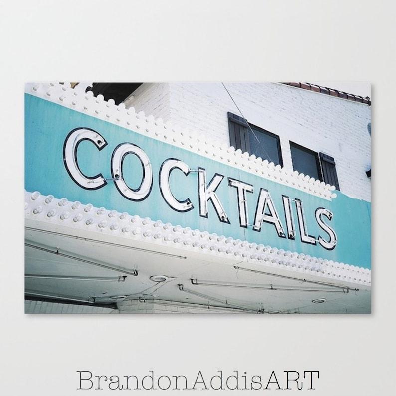 Cocktails Sign Bar Room Decor Beach Bar Art Old Sign image 0