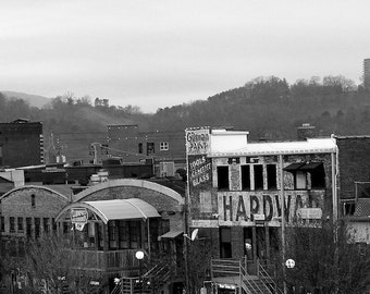 Chattanooga Downtown Scene, Black and White Photo, Home Wall Decor