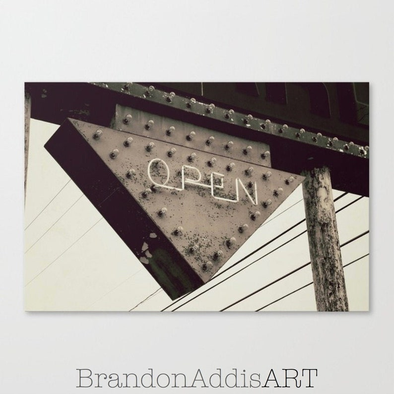 Open Sign Industrial Wall Art Office Decor Sepia Home Wall image 0