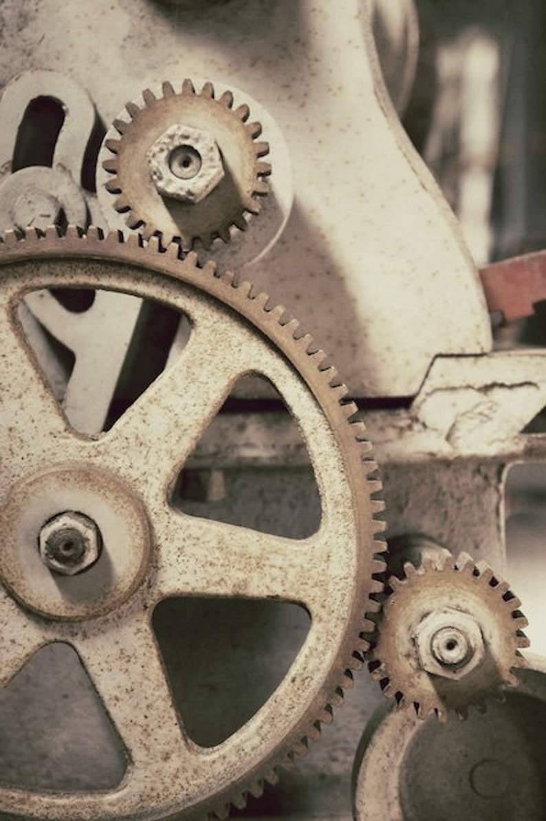 Industrial Wall Decor Rusty Gears Photograph Pictures of image 0