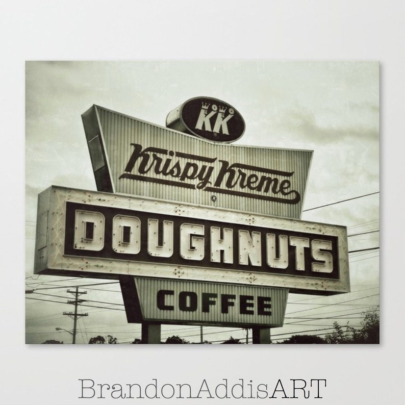 Doughnuts and Coffee Sign Kitchen Wall Decor Industrial image 0