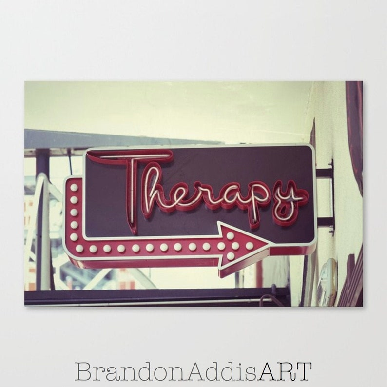 Therapy Sign Industrial Office Wall Decor Old Sign image 0