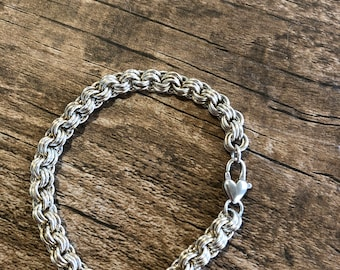 solid sterling silver chain maille with  sterling heart clasp