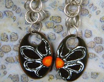 Daisy Enamel Enameled on Copper Oval Daisy Flower and Sterling Silver Jump Rings Hook Earrings Black White Orange