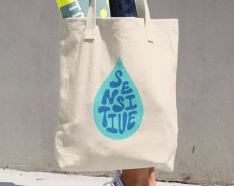 Cotton Tote Bag Sensitive Hand Lettering Blue Made in USA