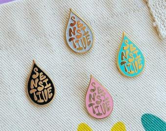 Enamel pin, Sensitive Soul, Hand Lettering- 4 Color Options