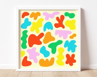 Colorful Abstract Shapes Art Print Home Decor