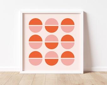 Mod Dots Art Print Retro Orange Pink